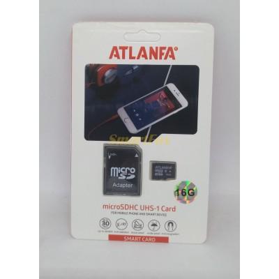 Карта памяти 16Gb ATLANFA microSDHC class 10 (adapter SD)