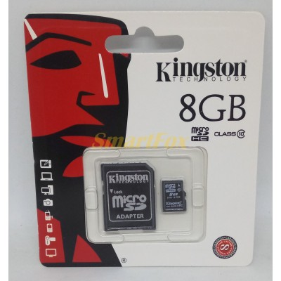 Карта памяти 8Gb microSD KINGSTON c адаптером class 10