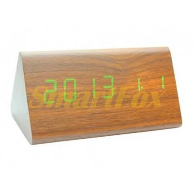 Часы настольные VST-861-4 с ярко-зеленой подсветкой в виде деревянного бруска