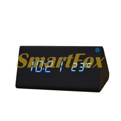 Часы настольные VST-861-5 с синей подсветкой в виде деревянного бруска
