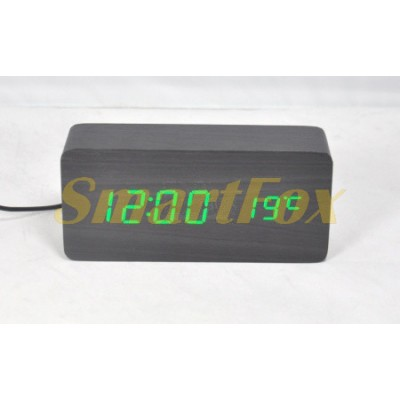 Часы настольные VST-862-4 с ярко-зеленой подсветкой в виде деревянного бруска