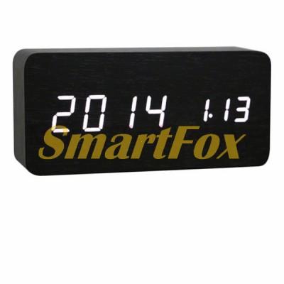 Часы настольные VST-862-6 с белой подсветкой в виде деревянного бруска