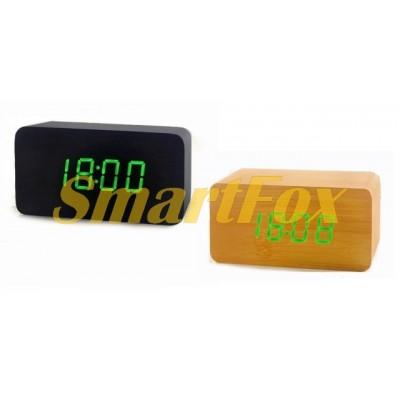 Часы настольные VST-863-4 с ярко-зеленой подсветкой в виде деревянного бруска