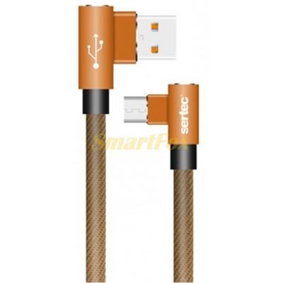 Кабель USB/TYPE-C SERTEC ST-054 L+L круглый тканевый BROWN (1 м)