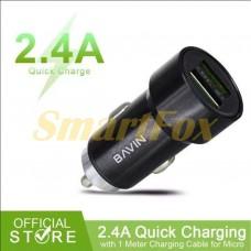 AЗУ USB 2,4А с кабелем USB/microUSB BAVIN PC375-V8