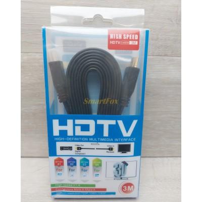 Кабель видео HDMI/HDMI плоский (3 м) (блистер)