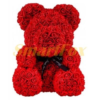 Мишка из искусственных 3D роз в коробке 25см 25`TOY