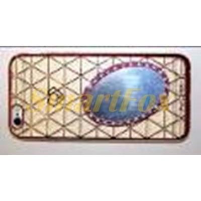 Чехол COV-052 для IPHONE 6/6S силиконовый прозрачный ОВАЛЬНОЕ ЗЕРКАЛО с камушками
