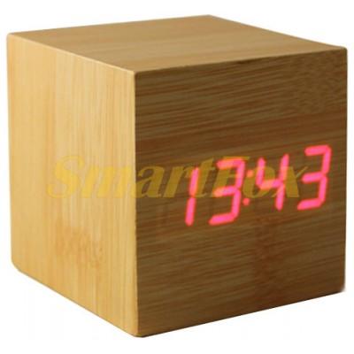 Часы настольные 1293 с красной подсветкой в виде деревянного бруска