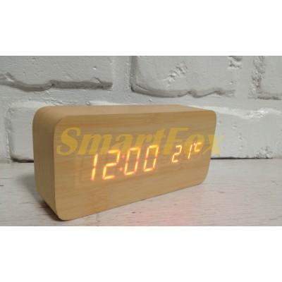 Часы настольные VST-862-3 с оранжевой подсветкой в виде деревянного бруска