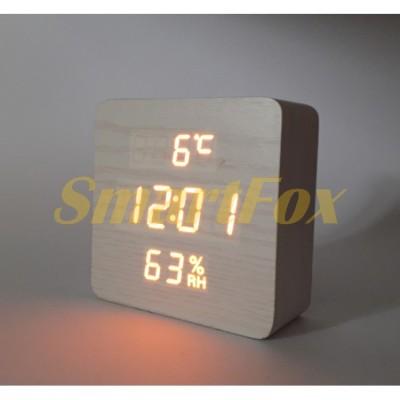 Часы настольные VST-872S-3 с оранжевой подсветкой в виде деревянного бруска
