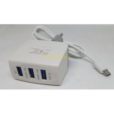 СЗУ 3USB с кабелем microUSB 3.4A (Quick Fast Charging)