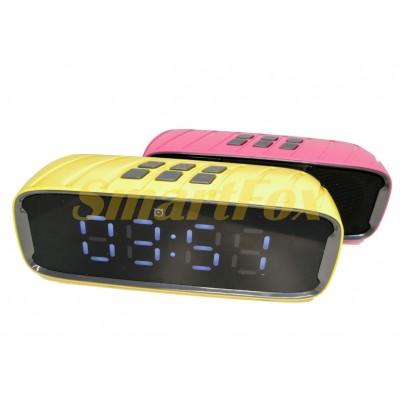 Портативная колонка Bluetooth WSA-858 с часами (19.5х7.2х6 см)