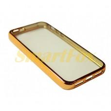 Чехол FASHION CASE COV-010 для IPHONE 5/5S силиконовый прозрачный с бампером под металл