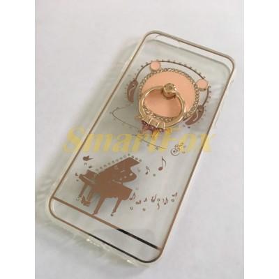 Чехол COV-066 для IPHONE 6/6S силиконовый прозрачный с колечком с мишкой с роялем
