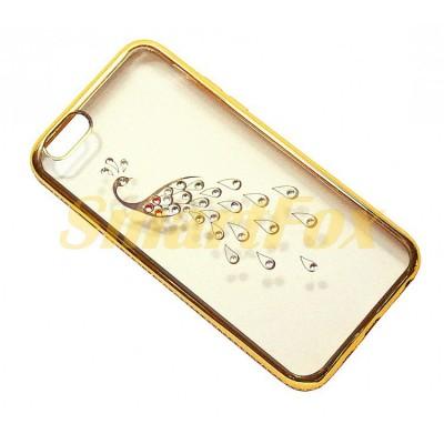 Чехол COV-039 для IPHONE 6/6S силиконовый прозрачный с павлином в камушках с бампером под металл