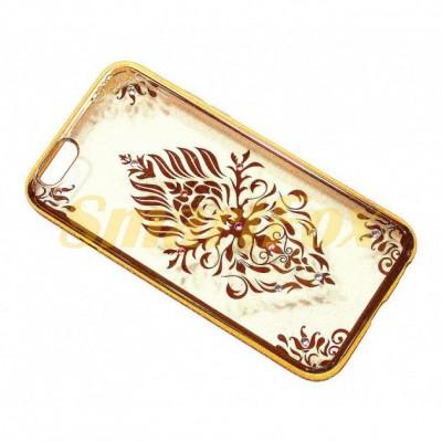 Чехол COV-045 для IPHONE 6/6S силиконовый прозрачный с цветком в камушках с бампером под металл