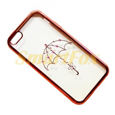 Чехол COV-046 для IPHONE 5/5S силиконовый прозрачный с зонтиком в камушках с бампером под металл
