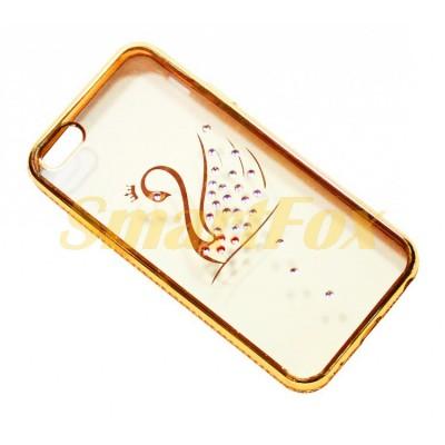 Чехол COV-049 для IPHONE 6/6S силиконовый прозрачный с лебедем в камушках с бампером под металл