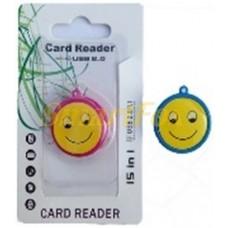 Картридер T-Flash/Micro SD Micro Card Reader СМАЙЛИК (круглый)