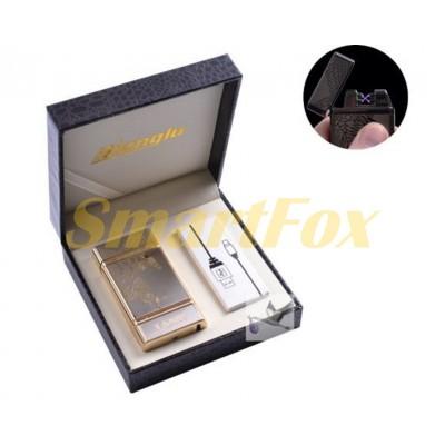 Зажигалка USB электроимпульсная Hongiu в подарочной кожаной коробке