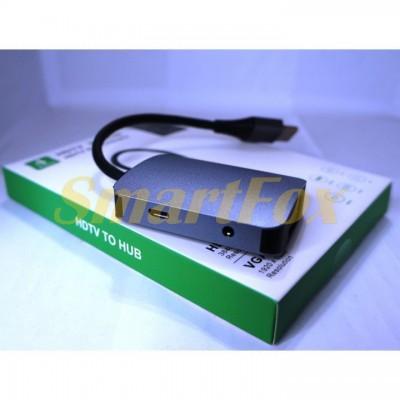 Конвертер HDTV Video + HUB на 4 порта (HDTV/VGA/Micro/DC 3,5 audio)