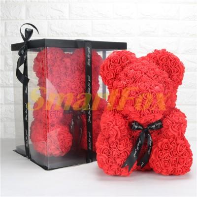 Мишка из искусственных 3D роз в коробке 39 см