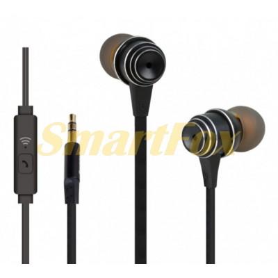 Наушники вакуумные с микрофоном REDDAX RDX-902 в каучуковой широкой оплетке BLACK