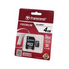 Карта памяти 4G Transcend microSD с адаптером class 10