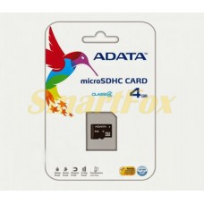 Карта памяти 4Gb Adata microSD без адаптера class 4