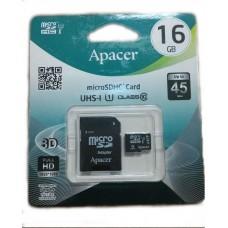 Карта памяти 16Gb Apacer microSD с адаптером class 10