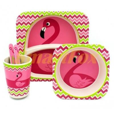 Набор детской посуды (бамбуковое волокно) SL-246-15 flamingo