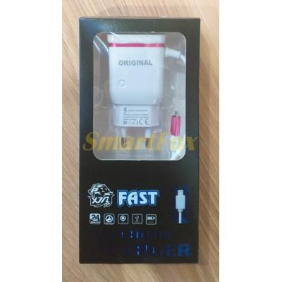 СЗУ 2USB + кабель USB/microUSB (31035)