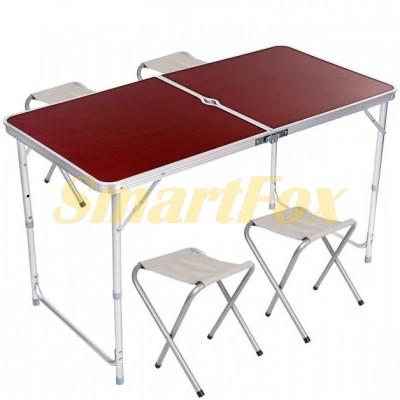 Стол для пикника усиленный с 4 стульями FOLDING TABLE (60x120 см) (раскладной чемодан)
