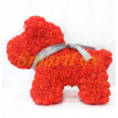 Собачка из искуственных роз (большая)