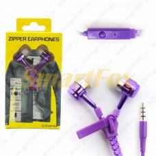 Наушники вакуумные с микрофоном ZIPPER-011 змейка