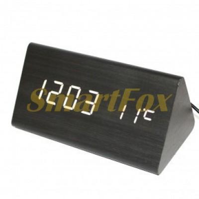 Часы настольные VST-861-6 с белой подсветкой в виде деревянного бруска