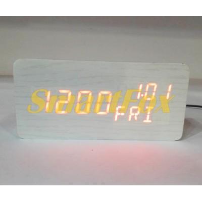 Часы настольные VST-862W-1 с красной подсветкой в виде деревянного бруска
