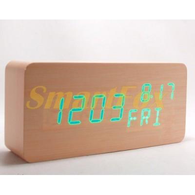 Часы настольные VST-862W-4 с ярко-зеленой подсветкой в виде деревянного бруска