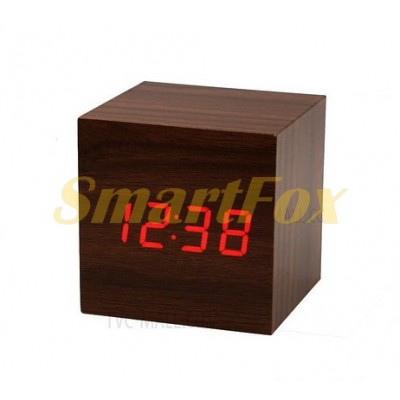Часы настольные VST-869-1 с красной подсветкой в виде деревянного бруска