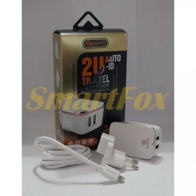 СЗУ 2USB для IPHONE + кабель USB Lightibg (iphone) Soloffer 2202 out 2,4A