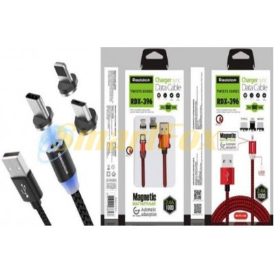 Кабель USB 3 в 1 microUSB (V8)/Lightning/TYPE-C REDDAX RDX-396 ROUND-CLOTH-MAGNET-LED (1 м) BLACK