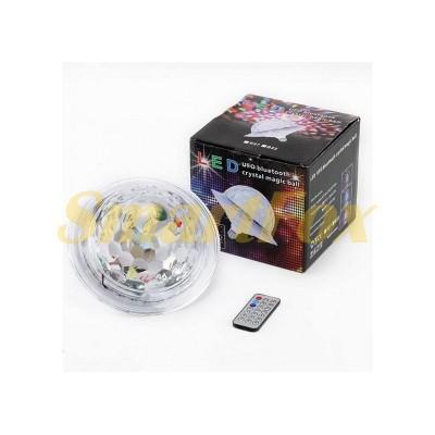 Диско шар светодиодный в патрон LED UFO Bluetooth Crystal Magic Ball E27 (без обмена, без возврата)