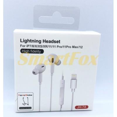Наушники вакуумные Lightning для iPhone 7 PLUS 8+ JH-7A
