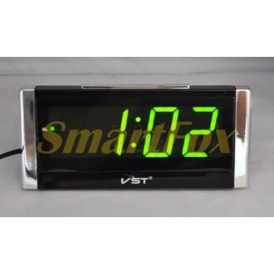 Часы настольные VST-731Y-4 с зеленой подсветкой (дисплей 7,5