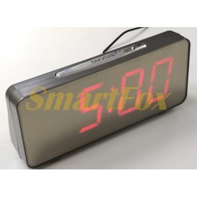 Часы настольные VST-763Y-1 с красной подсветкой (зеркальный дисплей 7,8