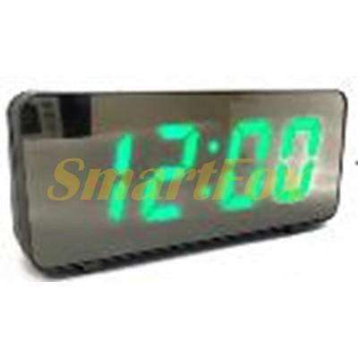 Часы настольные VST-763Y-4 с зеленой подсветкой (зеркальный дисплей 7,8