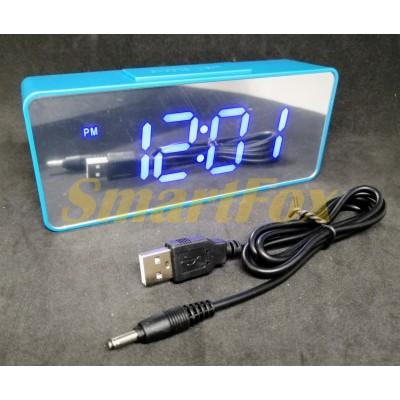 Часы настольные VST-886Y-5 с синей подсветкой (зеркальный дисплей 6,5