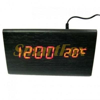 Часы настольные VST-864-1 с красной подсветкой в виде деревянного бруска