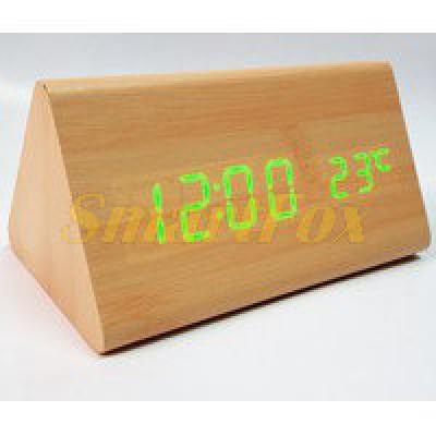 Часы настольные VST-864-4 с ярко-зеленой подсветкой в виде деревянного бруска